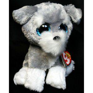 TY Beanie boos Whiskers Grey Dog Schnauzer Blue Sp